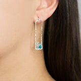 Sunset Gem Earrings - Hammered Sterling Silver Rectangle Stud Earrings with Ombre Blue Apatite/Aquamarine