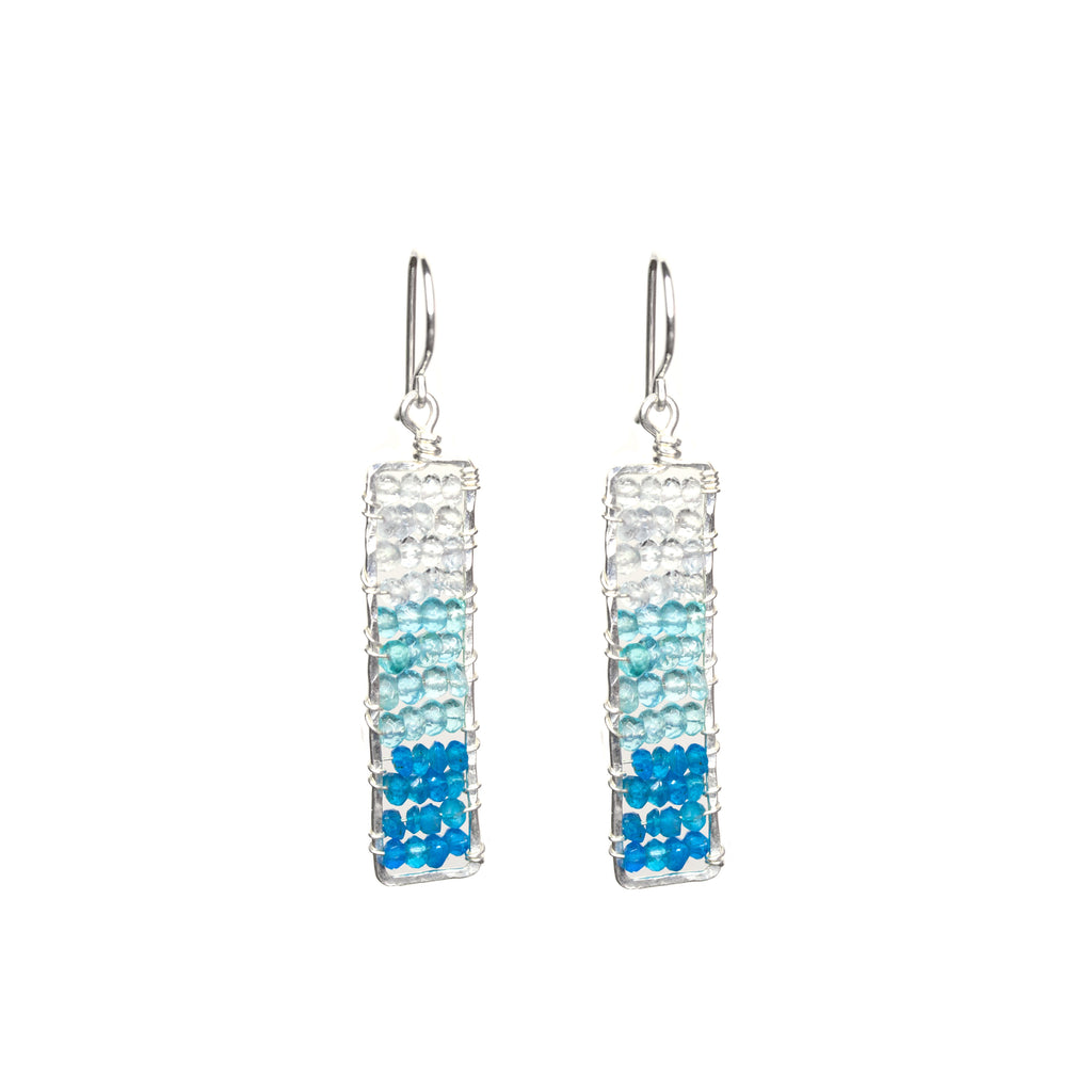 Sunset Statement Gem Dangle Earrings - Hammered Sterling Silver Rectangle Dangle Earrings with Ombre Blue Apatite and Aquamarine