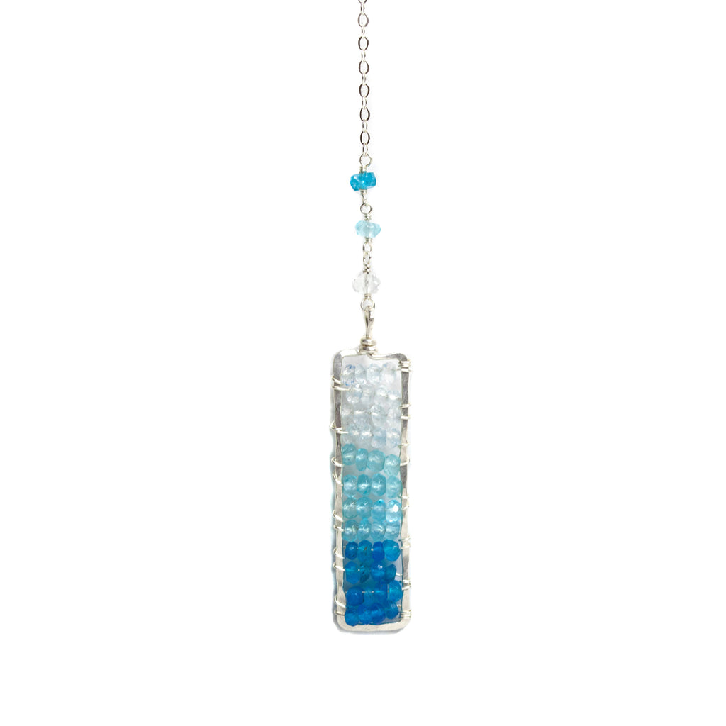 Sunset Necklace - Sterling Silver Lariat Necklace with Rectangle Blue Ombre Apatite/Aquamarine Pendant