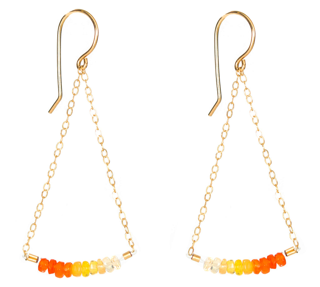 Swing Earrings - Gold and Fire Opal Earrings