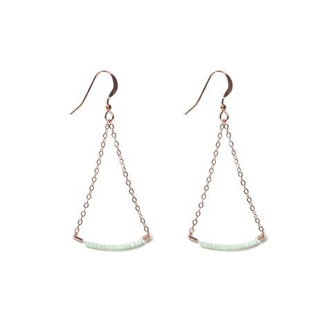 Swing Earrings - Rose Gold and Miyuki Glass Bead Earrings