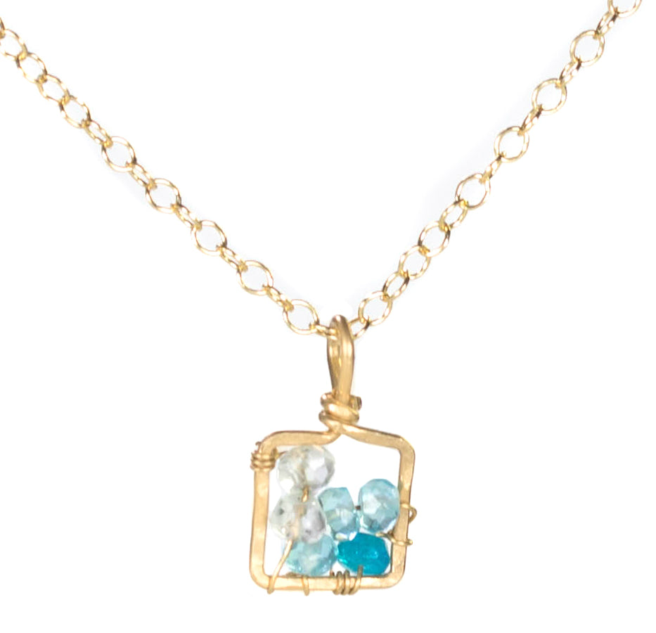 Dawn Gem Necklace - Gold Necklace Square Blue Apatite Pendant