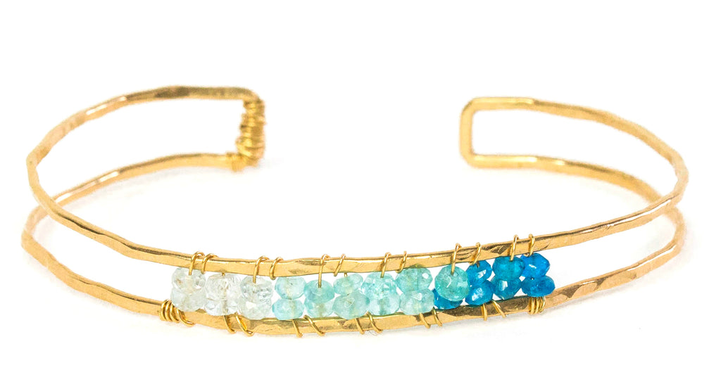 Sunrise Gem Bangle - Gold Bangle with Ombre Blue Apatite