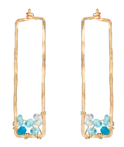 Sunset Gem Earrings - Hammered Gold Rectangle Stud Earrings with Ombre Blue Apatite/Aquamarine