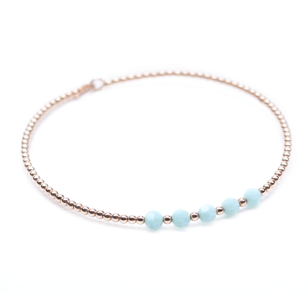 Rose Gold Beaded Bangle with Mint Green Swarovski