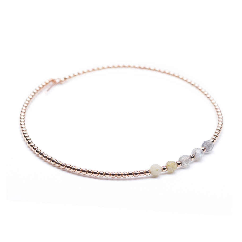 Rose Gold Beaded Bangle with Labradorite