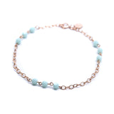 Rose Gold Station Bracelet with Mint Green Swarovski