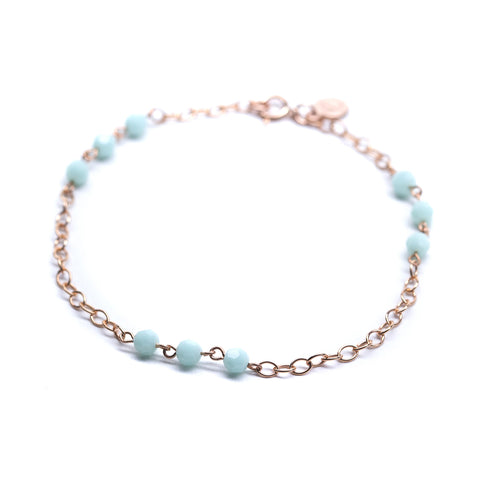 Sweetgum Bracelet - Rose Gold Station Bracelet with Mint Green Swarovski