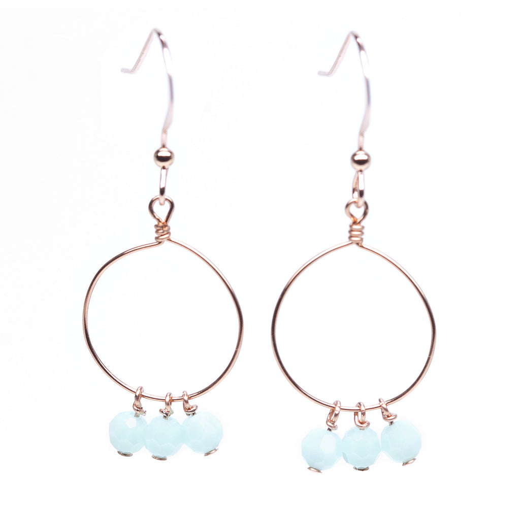 Rose Gold Chandelier Earrings wtih Mint Green Swarovski