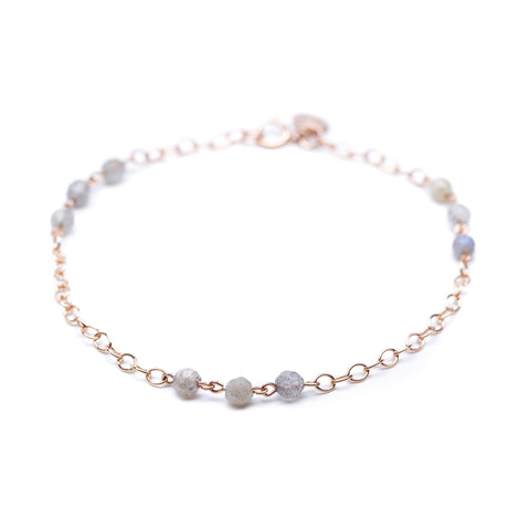 Sweetgum Bracelet - Rose Gold Station Bracelet with Labradorite