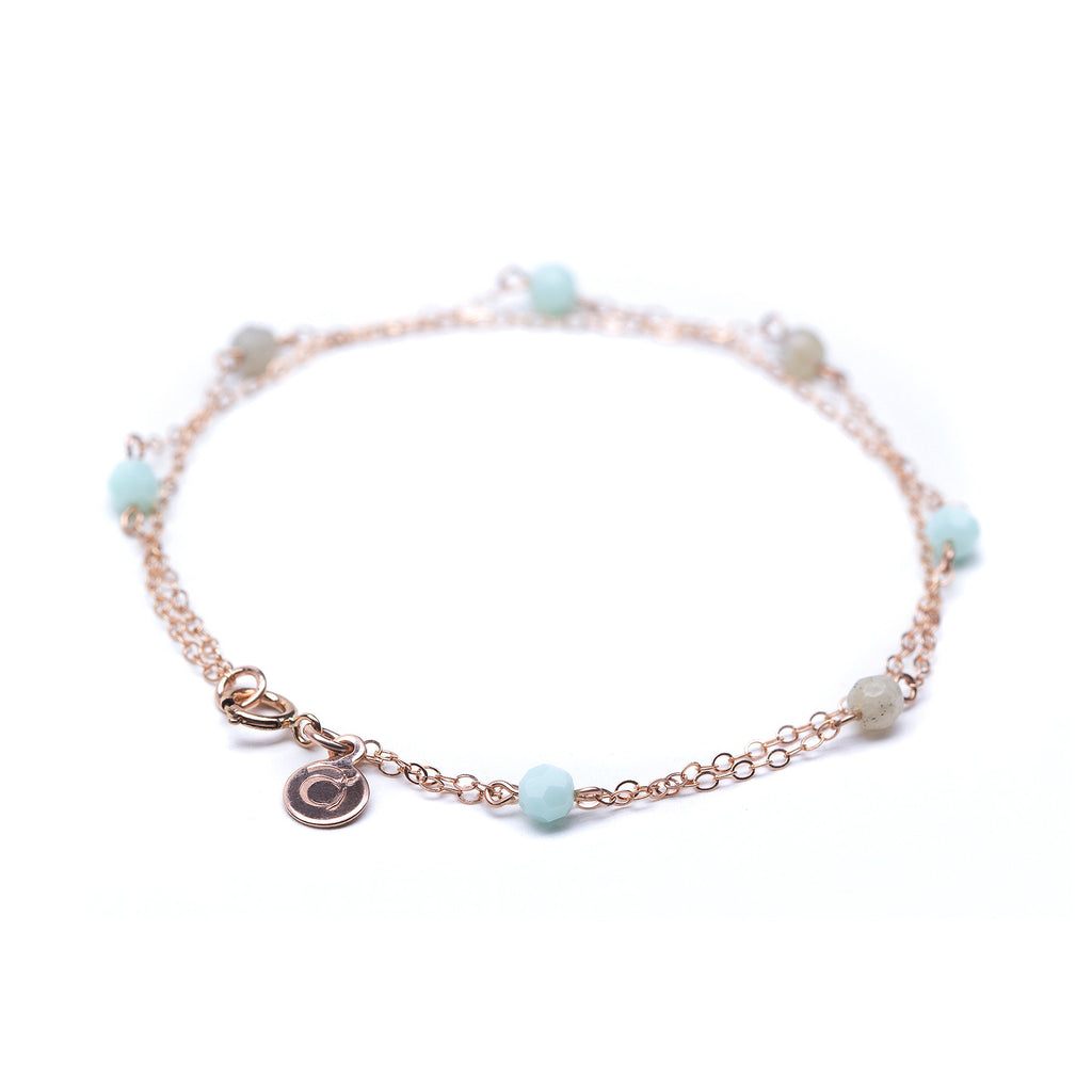 Rose Gold Double Bracelet with Swarovksi & Labradorite