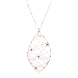 Long Rose Gold Necklace with Leaf Pendant