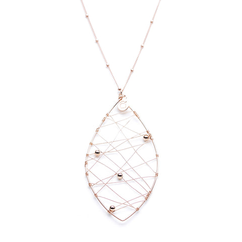 Yellowwood Necklace - Long Rose Gold Necklace with Leaf Pendant