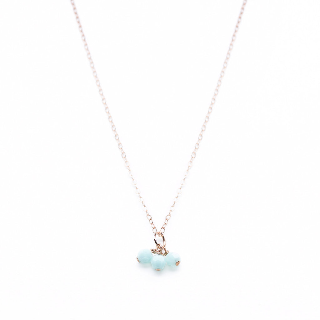 Rose Gold Necklace with 3 Mint Green Swarovski Pendants