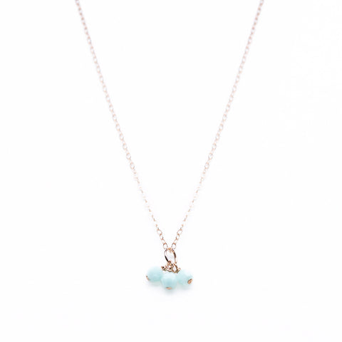 Sweetgum Necklace - Rose Gold Necklace with 3 Mint Green Swarovski Pendants