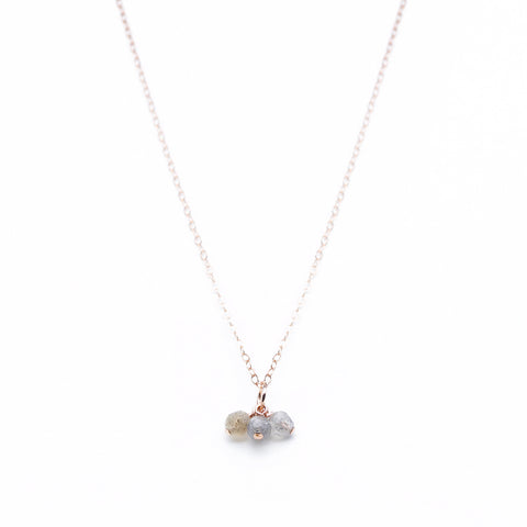 Sweetgum Necklace - Rose Gold Necklace with 3 Labradorite Pendants