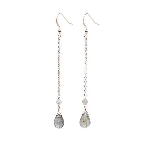 Lungo Droplet Earrings - Rose Gold Drop Earrings with Teardrop Labradorite