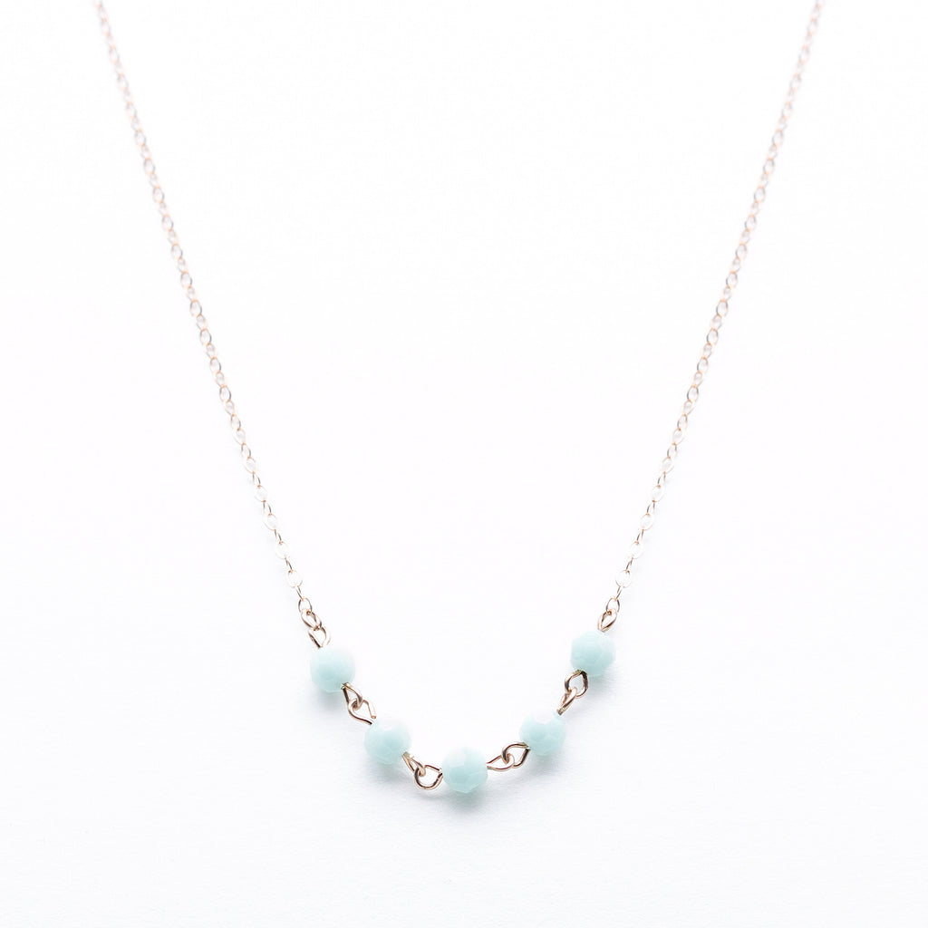 Thin Rose Gold Necklace with Mint Green Swarovksi