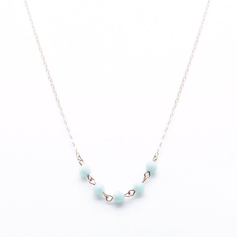 Strand Necklace - Thin Rose Gold Necklace with Mint Green Swarovksi