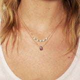 Thin Rose Gold Necklace with Labradorite