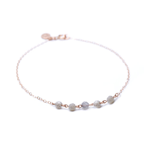 Strand Bracelet - Thin Rose Gold Bracelet with Labradorite
