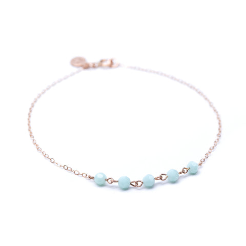 Strand Bracelet - Thin Rose Gold Bracelet with Mint Green Swarovski