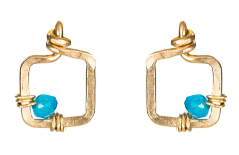 Mini Dawn Gem Earrings - Small Gold Stud Earrings with Blue Apatite