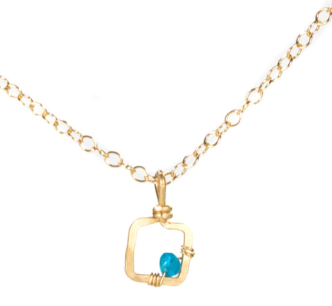 Mini Dawn Gem Necklace - Gold Necklace with Tiny Square Pendant with Blue Apatite