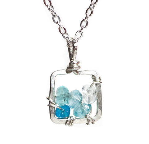 Dawn Gem Necklace - Silver Necklace Square Blue Apatite Pendant