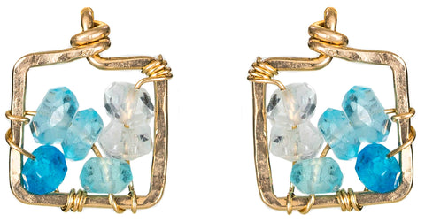 Dawn Gem Earrings - Gold and Blue Apatite