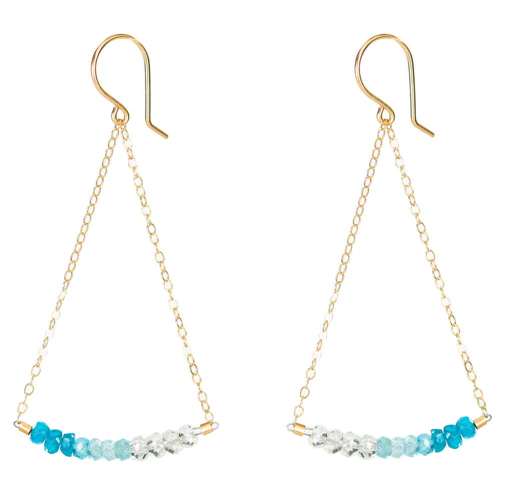 Swing Earrings - Gold and Blue Apatite Earrings