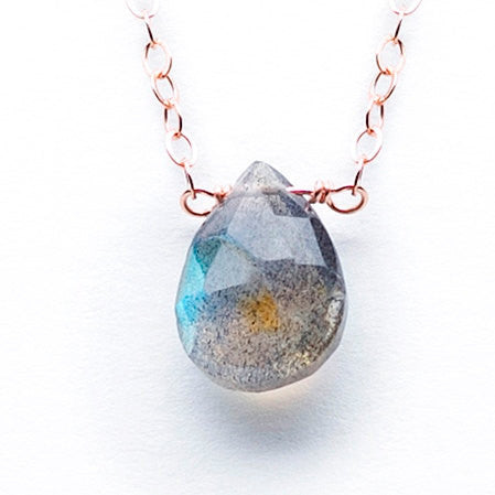 Rose Gold & Teardrop Labradorite Necklace