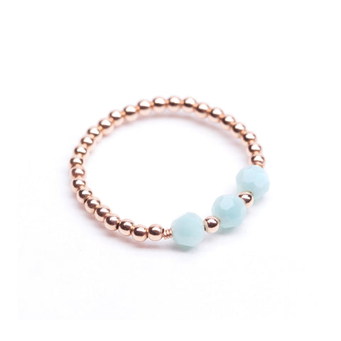 Tuliptree Ring - Rose Gold & Mint Green