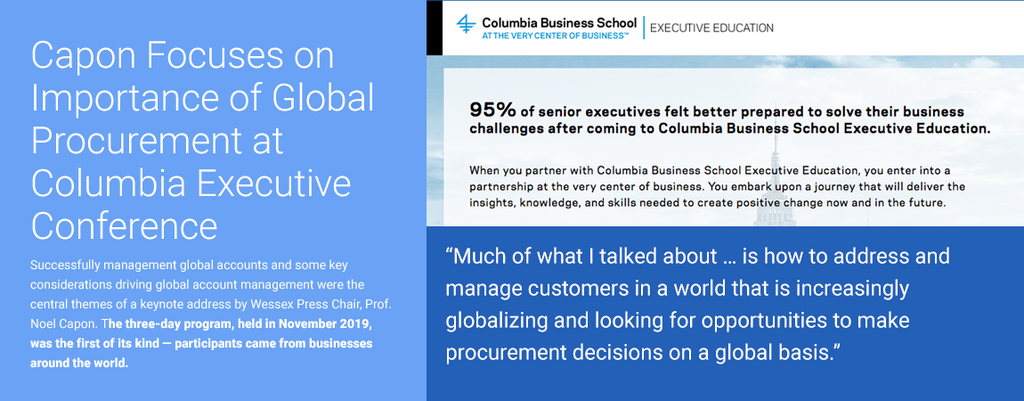 Capon Focuses on Importance of Global Procurement at Columbia Executive Conference