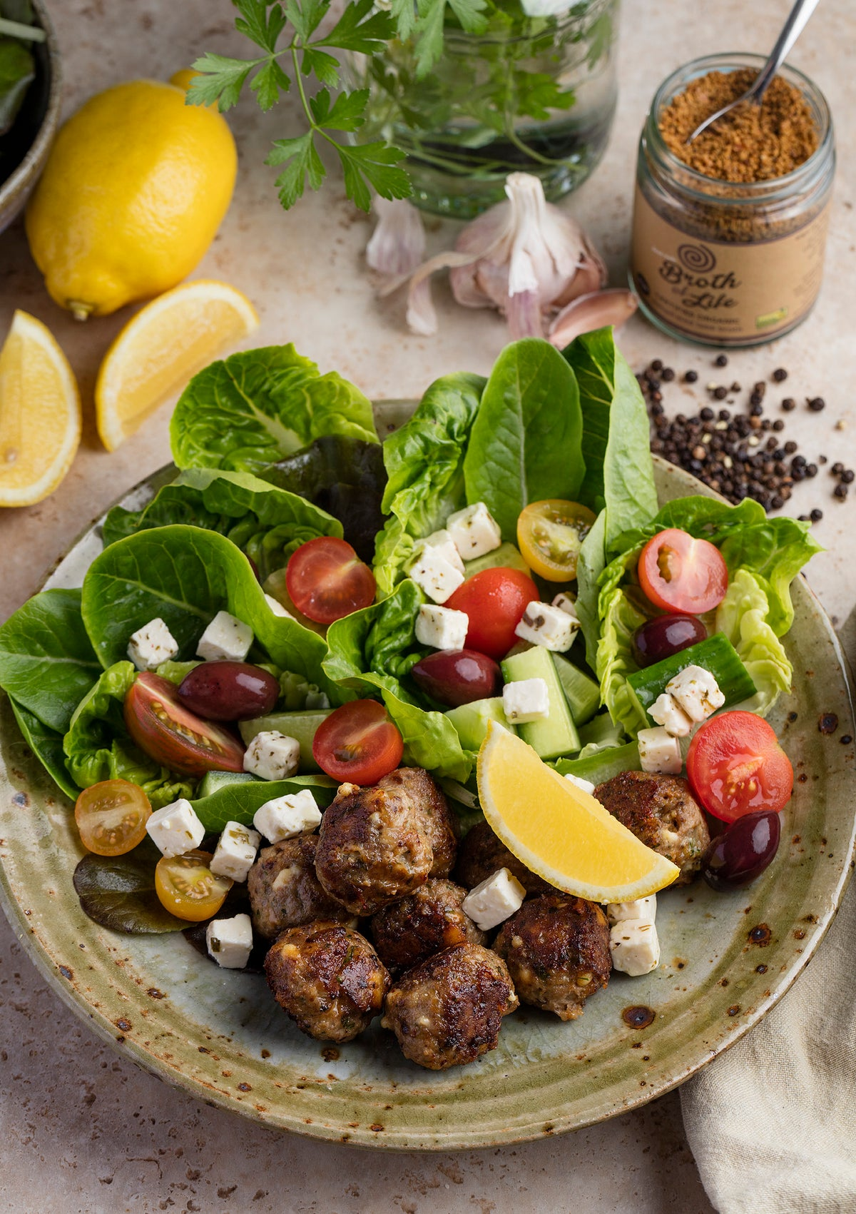 Greek Lamb Meatballs with Feta & Lemon