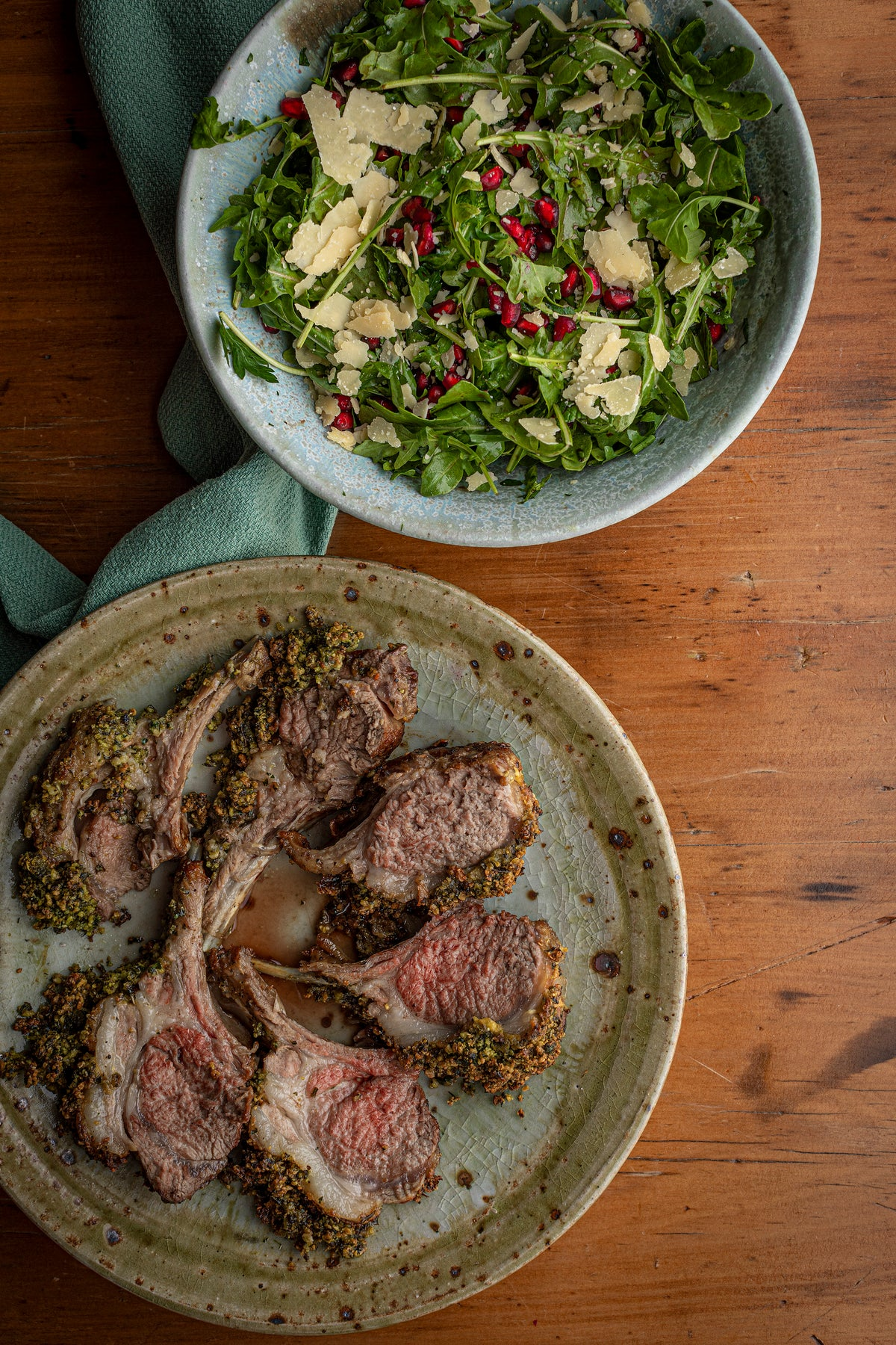 Herb Crusted Rack of Lamb with Pomegranate Salad