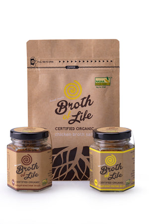 A 45 gram jar of beef bone broth, a 45 gram jar of chicken bone broth and a 100 gram satchel of chicken broth salt