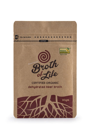 90 gram refill satchel of organic dehydrated Beef Bone Broth
