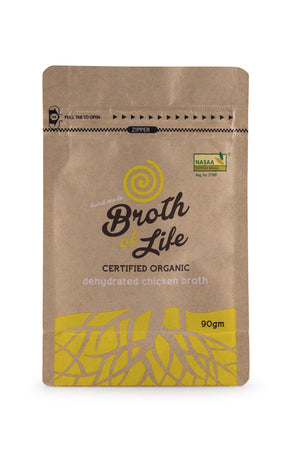 90 gram refill satchel of organic free range Chicken Bone Broth