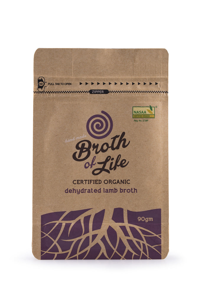 90 gram refill satchel of organic dehydrated Lamb Bone Broth