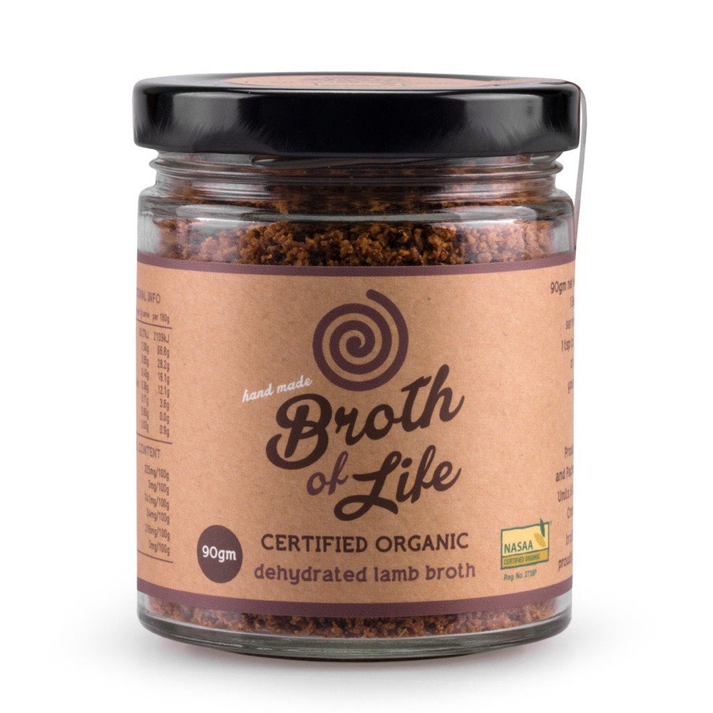 Large 90 gram jar of organic dehydrated Lamb Bone Broth