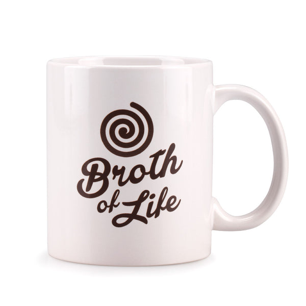 White Broth of Life ceramic coffee mug