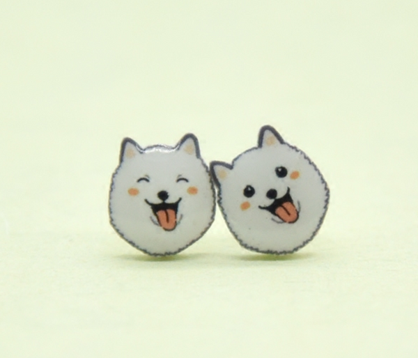 Japanese Spitz / White Pomeranian Earrings
