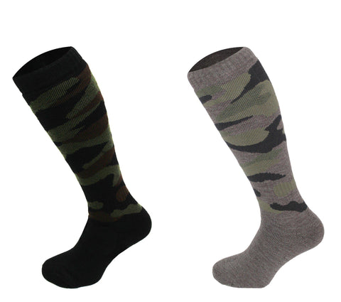544 - Men's Knee High Camouflage Socks (2 Pack - Black)