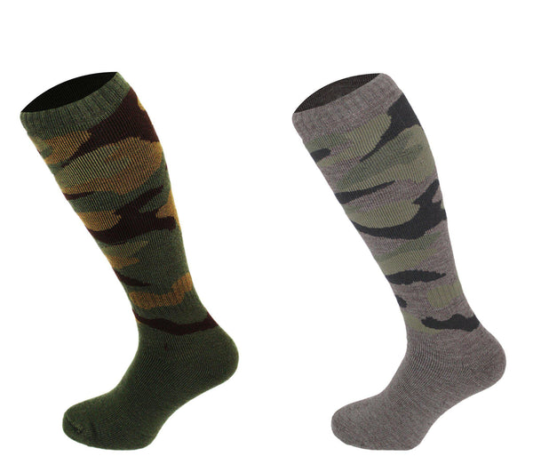 544 - Men's Knee High Camouflage Socks (2 Pack - Khaki Green) - Oxford Blue