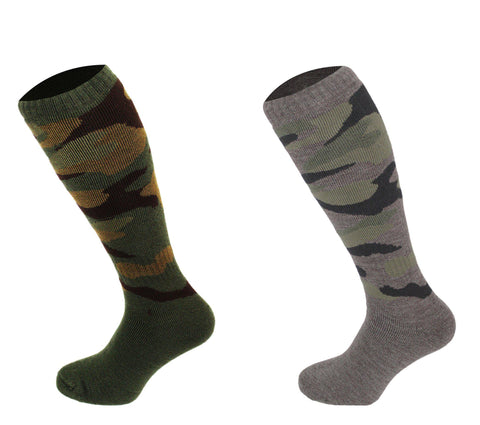 544 - Men's Knee High Camouflage Socks (2 Pack - Khaki Green)