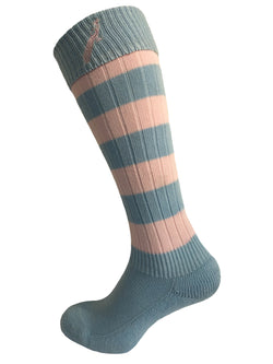 Hortons - Ladies Burley Long Stripe Socks Pink/Sky Blue - Oxford Blue