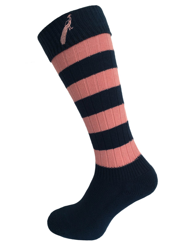 Hortons - Ladies Burley Long Socks Navy/Peach - Oxford Blue