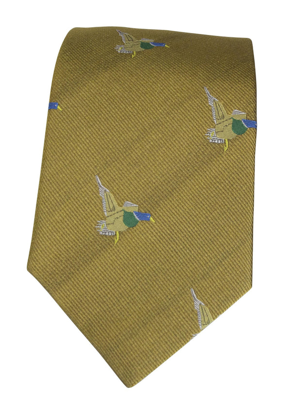 GT10 - 100% Silk Woven Tie / Duck - GOLD - Oxford Blue