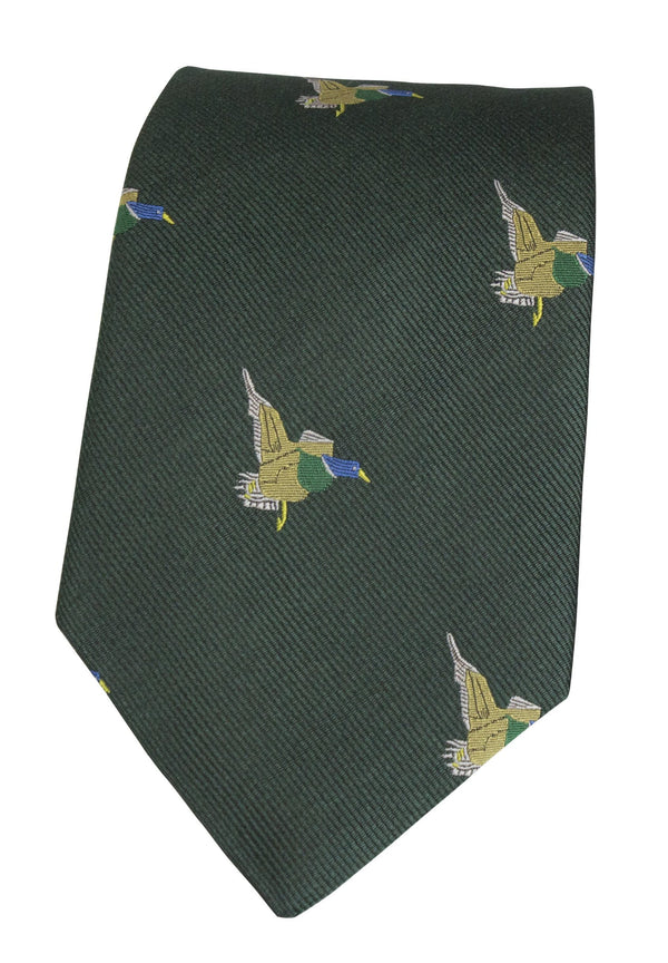 GT10 - 100% Silk Woven Tie / Duck - GREEN - Oxford Blue